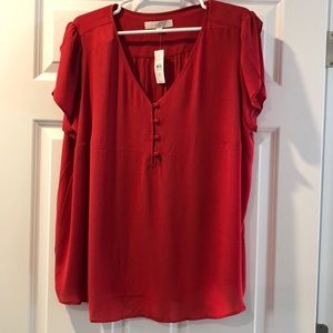 Loft plus blouse in red